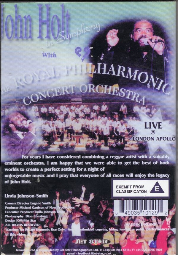 John Holt in symphony with the Royal Philharmonic Orchestra & Freddie McGregor - JSDVD1012